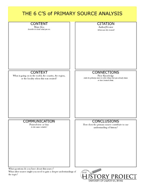 The 6 C's of Primary Source Analysis Graphic Organizer