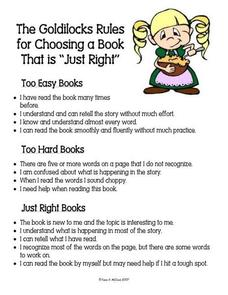 "The Goldilocks Rules for Choosing a Book That Is ""Just Right"" Handouts & Reference"