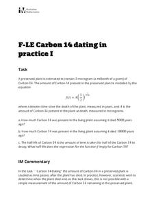 Carbon 14 Dating in Practice I Activities & Project
