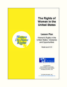 The Rights of Women in the United States (Secondary) Unit