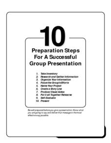 10 Preparation Steps for a Successful Group Presentation Handouts & Reference