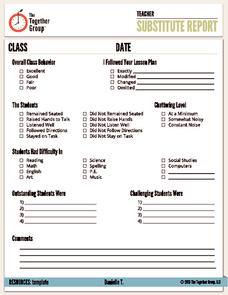 Substitute Report Printables & Template
