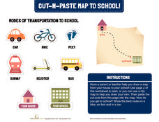 Cut-N-Paste Map to School Worksheet