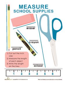 Measure School Supplies Worksheet