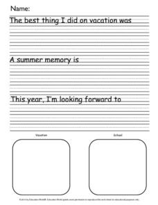How I Spent My Summer Vacation Prompt Printables & Template