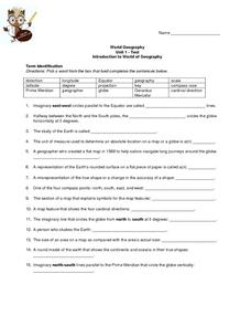 Introduction To World Of Geography Test Worksheet For Th Th - Geography test
