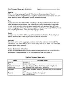 Five Themes of Geography Definitions Worksheet