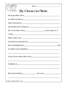 My Character Traits Worksheet for 2nd - 7th Grade | Lesson Planet