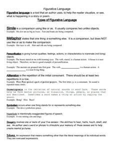 Worksheets Figurative Language Worksheets figurative language packet 6th 12th grade worksheet lesson planet worksheet
