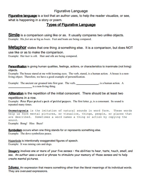 Figurative Language Practice | Figurative, Language and Worksheets