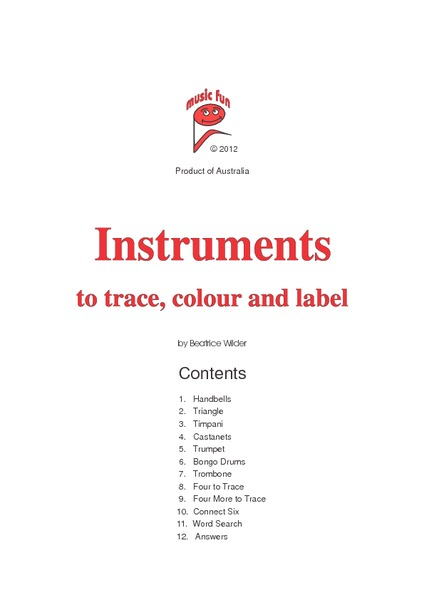 Instruments to Trace Color and Label Worksheet