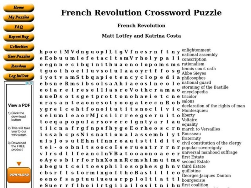 French Revolution Worksheet For 9th 12th Grade Lesson