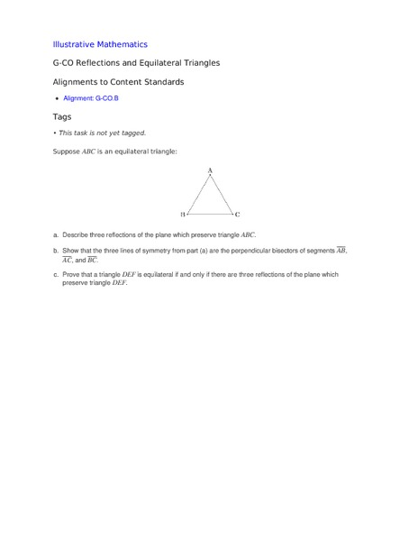 Reflections and Equilateral Triangles Activities & Project