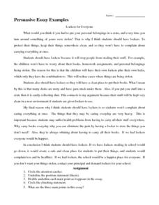 Persuasive Essay Examples Handouts Reference