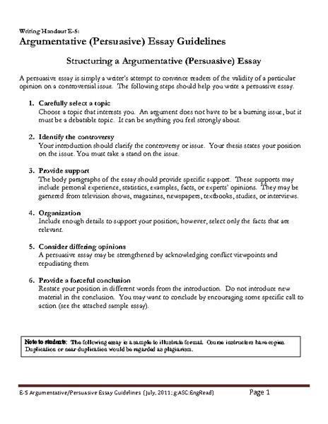 argumentative  persuasive  essay guidelines handouts