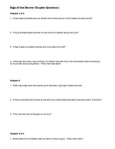 Sign of the Beaver Chapter Questions Worksheet