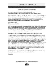 Primary Source Worksheet: Abraham Lincoln, Letter to Horace
