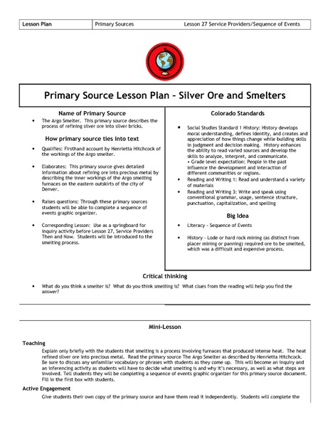 Gold Ore and Smelters Lesson Plan