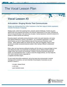 Articulation: Singing Words That Communicate Lesson Plan