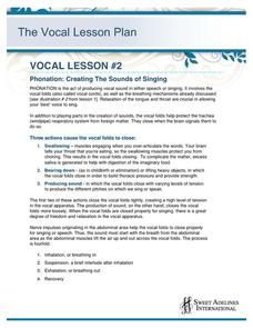 Phonation: Creating The Sounds of Singing Lesson Plan