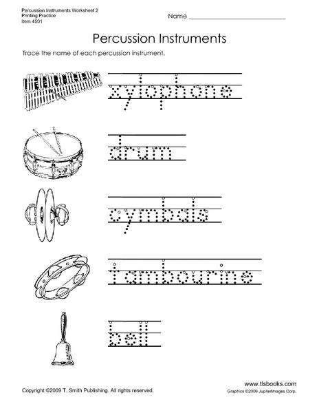 Percussion Instruments Worksheet for Kindergarten - 3rd ...
