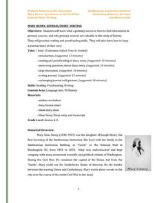 Mary Henry: Journal/Diary Writing Worksheet