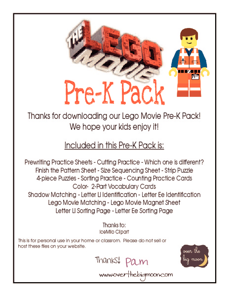 Lego Movie Pre-K Pack Printables & Template