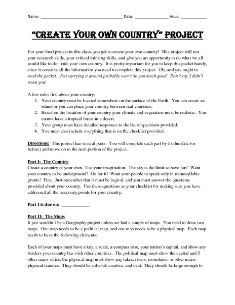 Create Your Own Country Project 5th - 8th Grade Activities ...