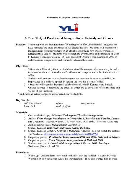 A Case Study of Presidential Inaugurations: Kennedy and Obama Activities & Project
