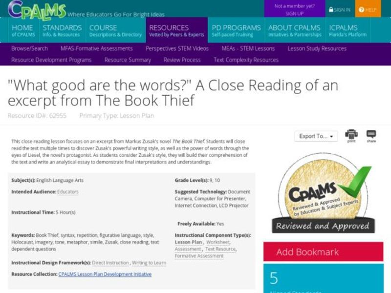 """What Good are the Words?"" A Close Reading of an Excerpt from The Book Thief Lesson Plan"
