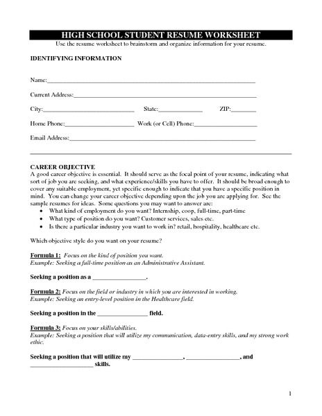 High School Student Resume Worksheet Handouts Reference