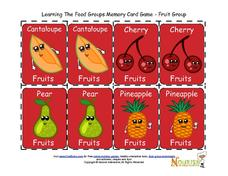 Learn the Food Groups Memory Game Printables & Template
