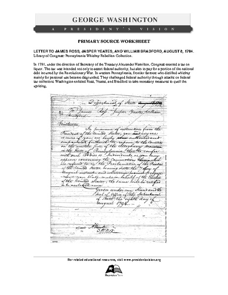 Primary Source Worksheet: Letter Regarding the Whiskey Rebellion Worksheet