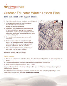 Outdoor Educator Winter Lesson Plan Activities & Project
