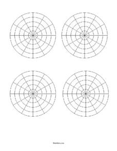 One Page of Four Smaller Polar Grids Printables & Template