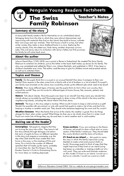 The Swiss Family Robinson Teacher's Notes Worksheet