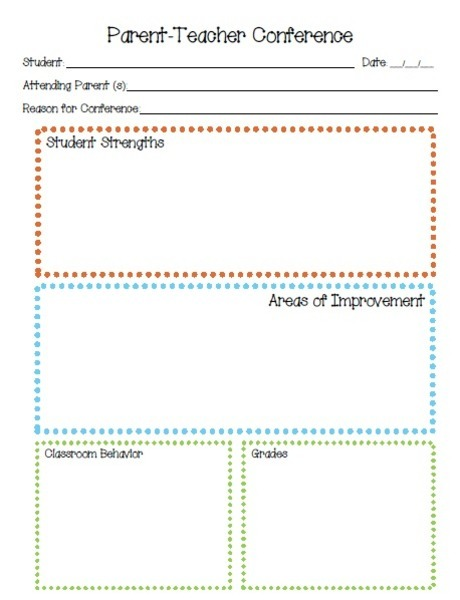parent teacher conference printables template for pre k 6th