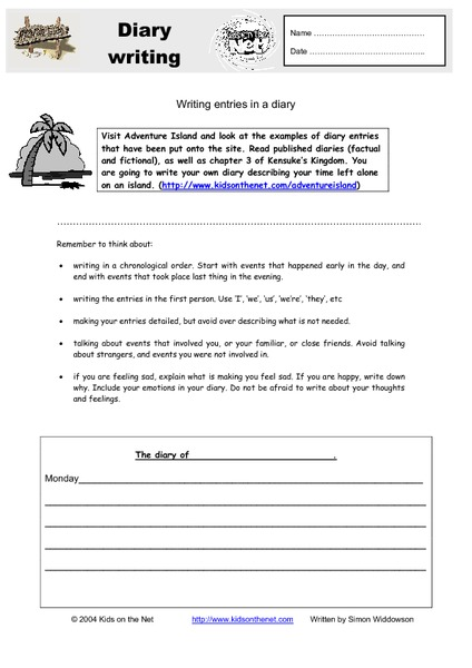Diary Entry Lesson Plans & Worksheets Reviewed by Teachers