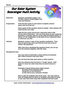 Our Solar System Scavenger Hunt Activity Worksheet