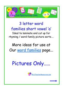 "Word Families - Short Vowel ""A"" Printables & Template"