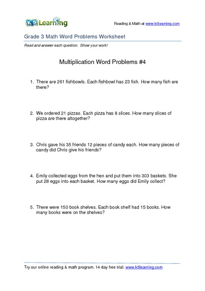 Multiplication Word Problems #4 Worksheet