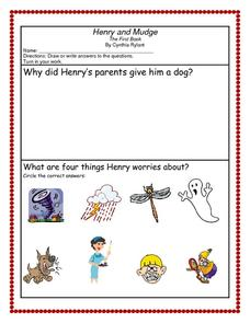 Henry and Mudge Worksheet