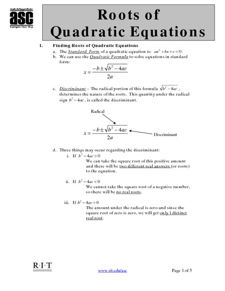 Roots Of Quadratic Equations Worksheet For 7th 12th