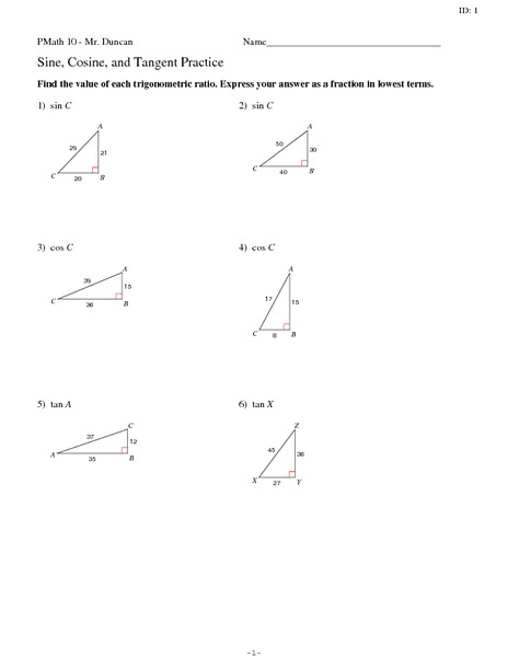 Sine, Cosine, and Tangent Practice 10th - 12th Grade Worksheet ...