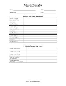 Pedometer Tracking Log Printables & Template