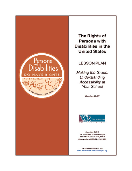 The Rights of Persons with Disabilities in the United States Lesson Plan