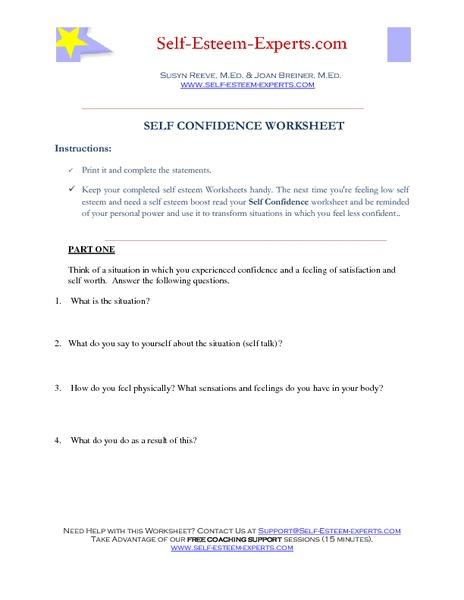 Self Confidence Worksheet 6th - 12th Grade Worksheet | Lesson Planet