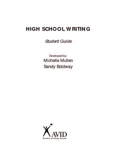 High School Writing: Student Guide Worksheet