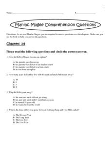 Maniac Magee Comprehension Questions Activities & Project