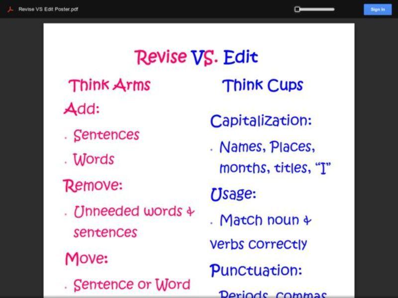 Revise vs Edit 3rd 8th Grade Worksheet – Revise and Edit Worksheets